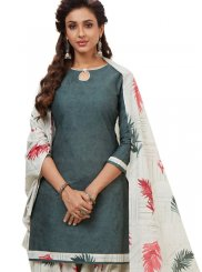 Cream and Grey Printed Party Patiala Salwar Suit
