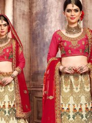 Cream and Hot Pink Art Silk Lehenga Choli