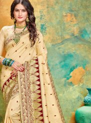 Cream and Maroon Festival Designer Traditional Saree
