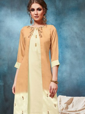Cream and Mustard Party Wear Kurti