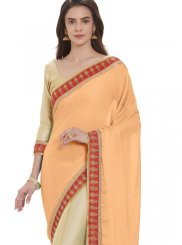 Cream and Peach Embroidered Faux Georgette Half N Half  Saree