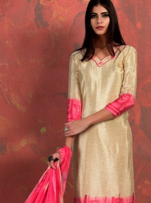 Cream and Pink Abstract Print Fancy Fabric Churidar Suit