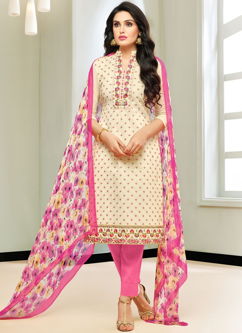 Cream and Pink Pant Style Suit
