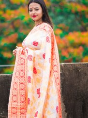 Cream and Red Print Silk Traditional Saree