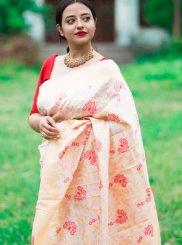 Cream and Red Print Traditional Designer Saree