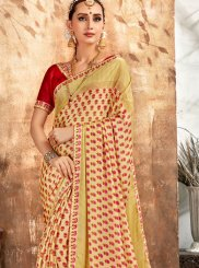 Cream and Red Printed Georgette Printed Saree