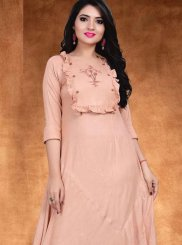 Cream and Rose Pink Embroidered Cotton Casual Kurti