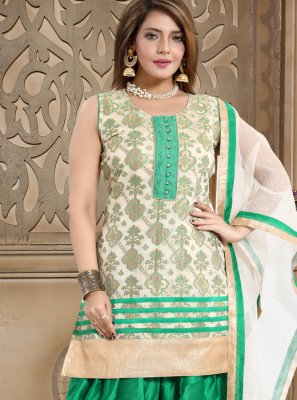 Cream and Sea Green Fancy Banglori Silk Readymade Suit