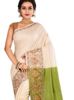 Cream Art Banarasi Silk Mehndi Designer Traditional Saree