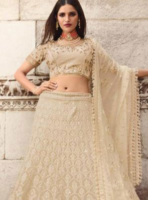 Cream Art Silk Bridal Lehenga Choli