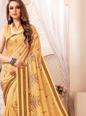 Cream Art Silk Ceremonial Traditional Designer Saree