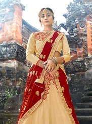 Cream Art Silk Designer Lehenga Choli