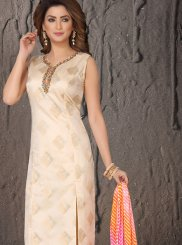 Cream Art Silk Designer Suit