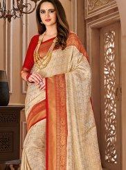 Cream Art Silk Designer Traditional Saree
