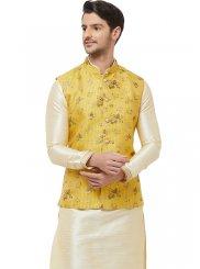 Cream Art Silk Kurta Payjama With Jacket