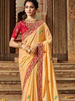 Cream Banarasi Silk Traditional Saree