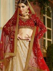 Cream Banglori Silk Zari Designer Lehenga Choli
