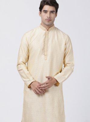 Cream Blended Cotton Kurta Pyjama