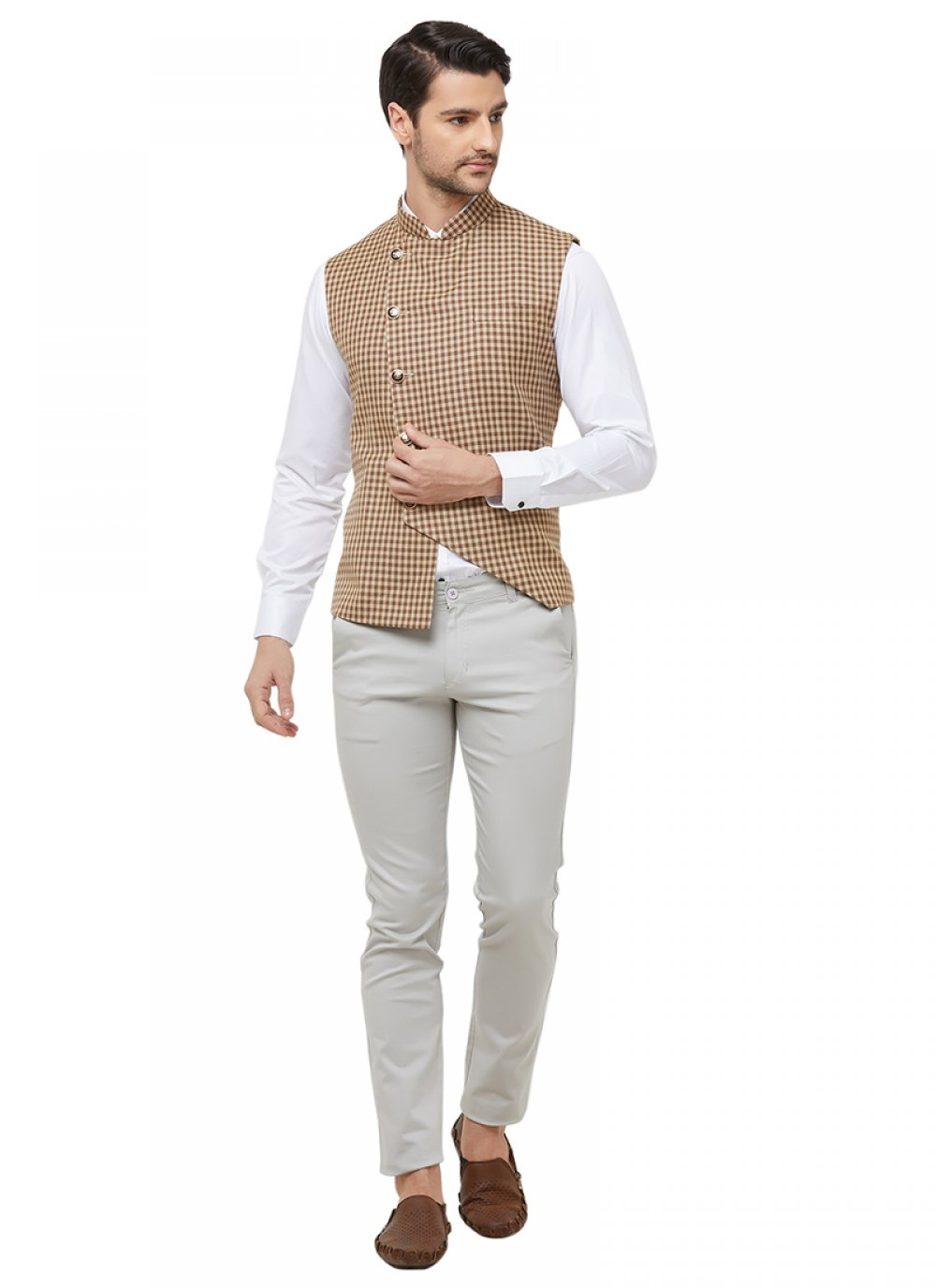 Cream Blended Cotton Printed Nehru Jackets