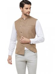 Cream Blended Cotton Printed Nehru Jackets