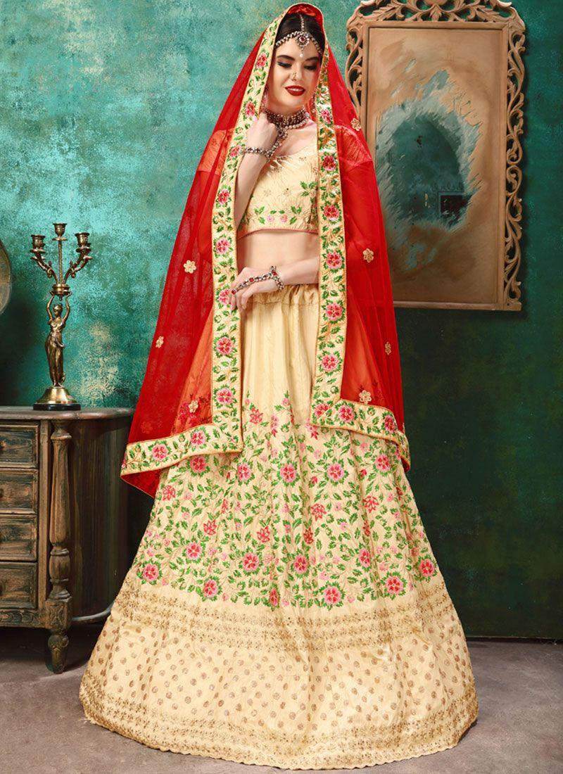 a12ffa808b Buy Cream Bridal Art Silk Lehenga Choli : 99809 -