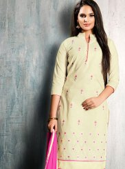 Cream Casual Cotton   Churidar Suit