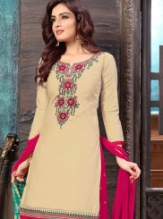 Cream Casual Cotton Designer Patiala Salwar Kameez