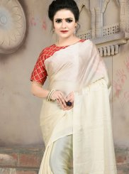 Cream Casual Satin Trendy Saree