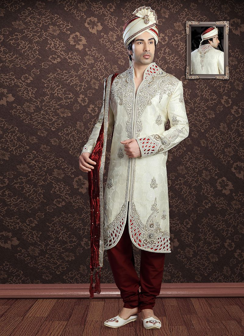 Cream Ceremonial Jacquard Sherwani
