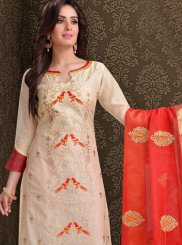 Cream Chanderi Sangeet Churidar Suit