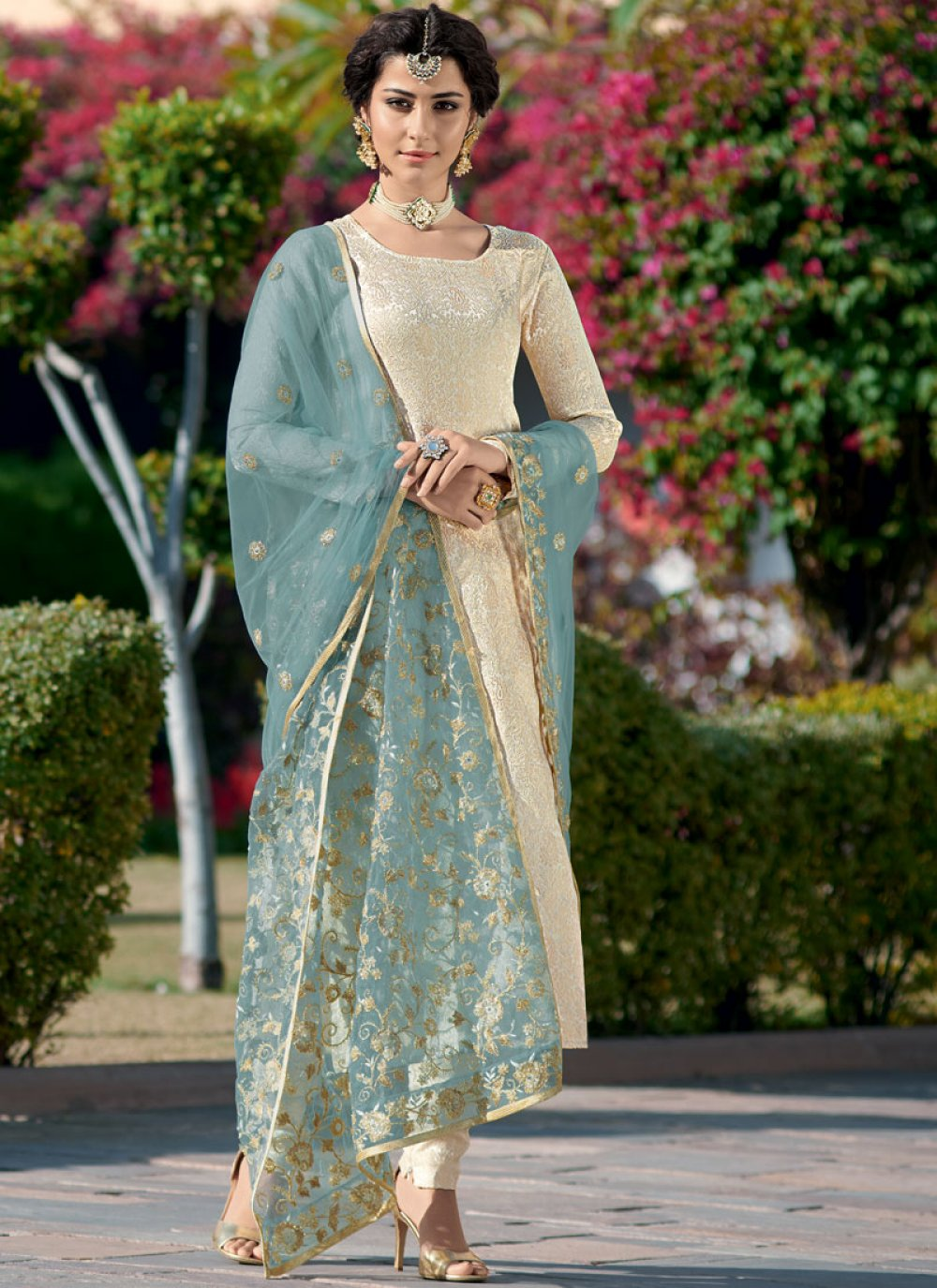 Cream Churidar Designer Suit