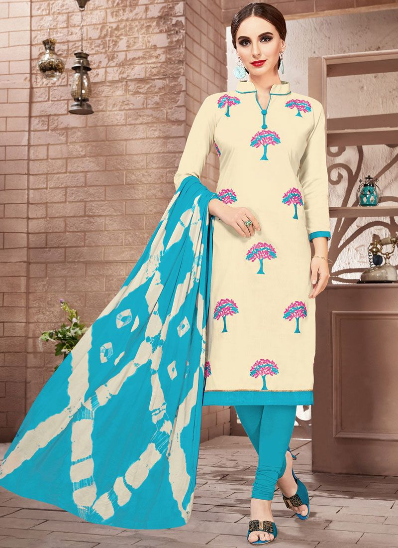 Cream Churidar Suit