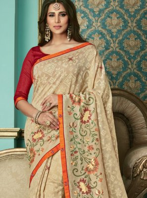 Cream Color Designer Traditional Saree