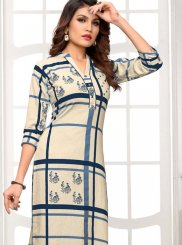 Cream Cotton Casual Kurti