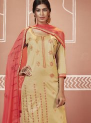 Cream Cotton Festival Churidar Designer Suit