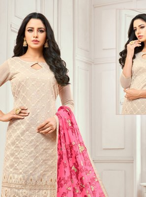 Cream Cotton Salwar Kameez