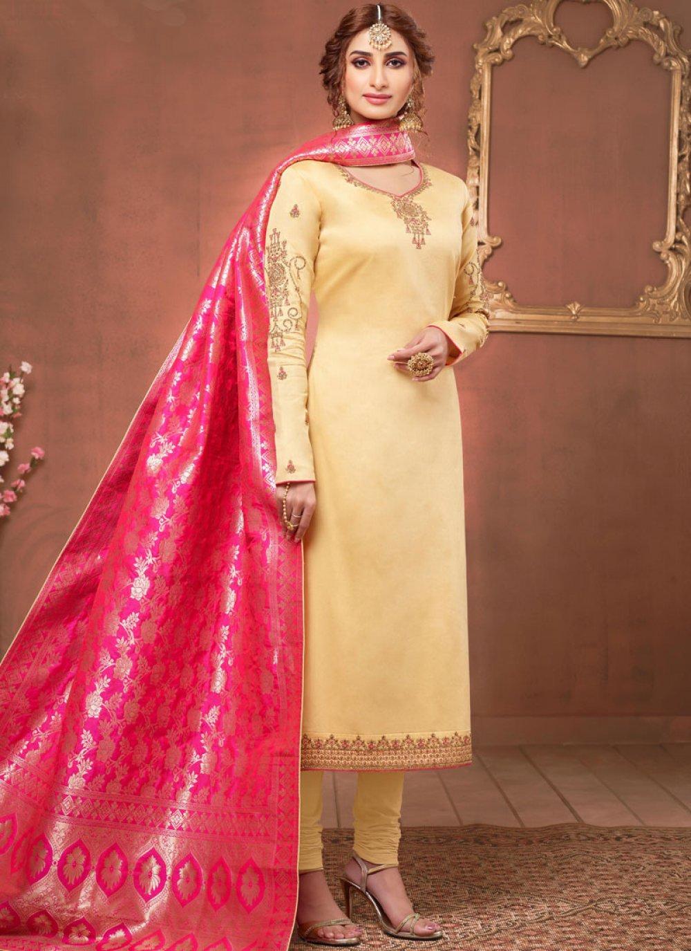 Yellow Cotton Silk Churidar Salwar Suit