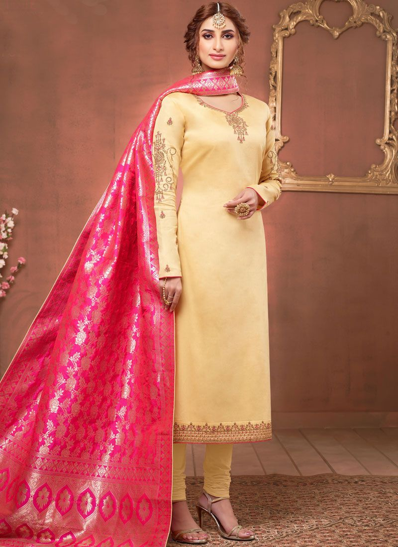 Cream Cotton Silk Churidar Salwar Suit