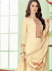 Cream Cotton Silk Party Pant Style Suit