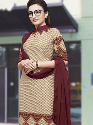 Cream Crepe Silk Print Salwar Kameez