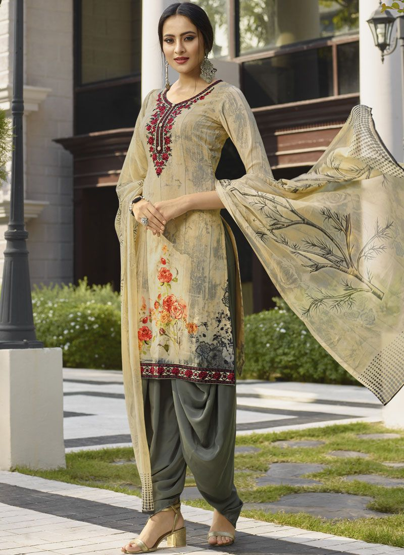 Cream Designer Salwar Suit