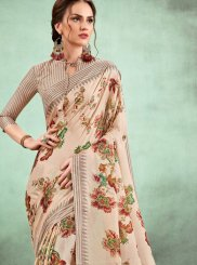Cream Digital Print Casual Saree