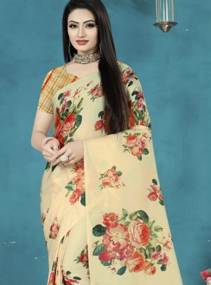 Cream Digital Print Satin Silk Trendy Saree