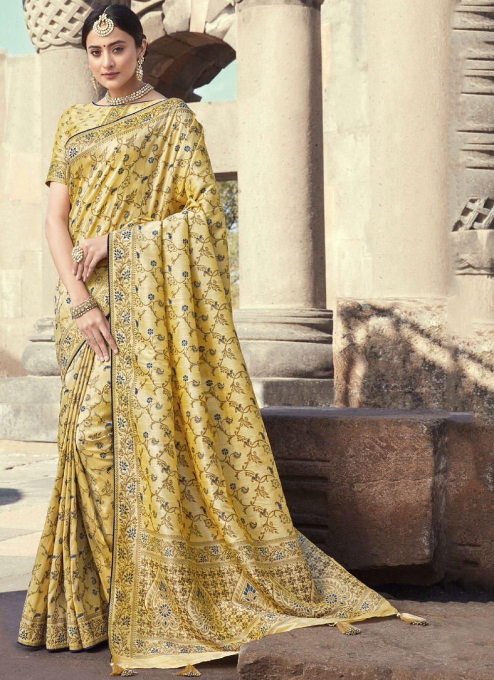 Cream Embroidered Art Banarasi Silk Designer Traditional Saree