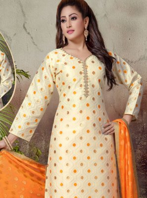 Cream Embroidered Art Silk Readymade Suit