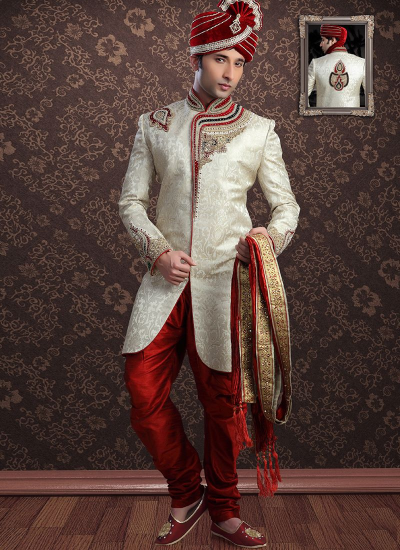 Cream Embroidered Ceremonial Sherwani