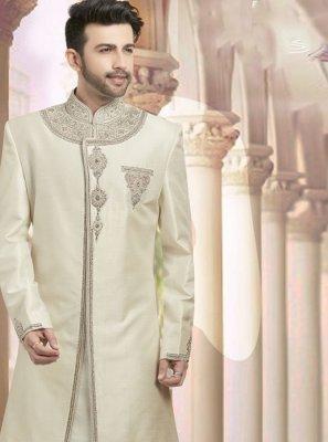 Cream Embroidered Ceremonial Sherwani