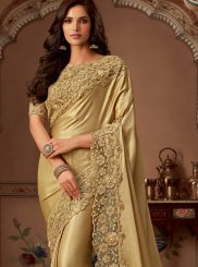 Cream Embroidered Classic Saree