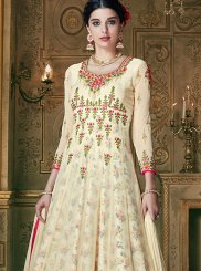 Cream Embroidered Designer Lehenga Choli