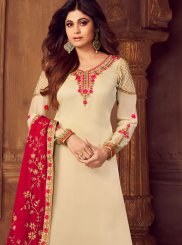 Cream Embroidered Designer Palazzo Salwar Kameez